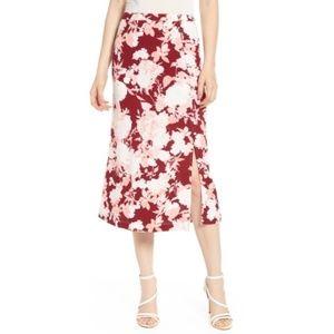 NWT Chelsea28 Floral Print Midi Button Skirt XS